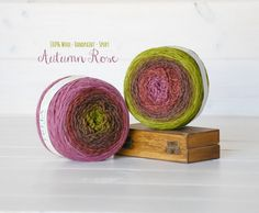 2 Hand Dyed Yarn Balls  100% Wool  Color: Autumn by CraftyWoolFelt