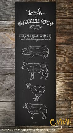 Butcher Shop Butcher cuts Meat Cuts Large Kitchen Print Butcher Sign Poster…
