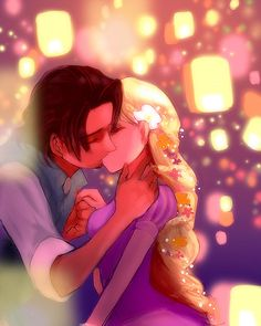 Rapunzel and Flynn Rider, Tangled, Disney art