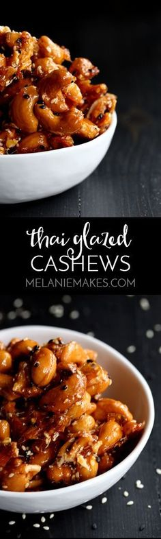 These six ingredient Thai Glazed Cashews take just 10 minutes to prepare and are sure to disappear just as quickly! The perfect contrast of sweet and spicy, chewy and crunchy. A copycat recipe of one of my favorite snacks. Thai Recipes, Asian Recipes, Easy Appetizer Recipes, Snack Recipes, Yummy Snacks, Healthy Snacks, Great Recipes, Favorite Recipes, Dessert For Dinner