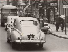 1950's. Peugeot 203 (ST-94-92, RX-88-98) and bus (NJ-01-34). Photo Beeldbank Amsterdam. #amsterdam #1950