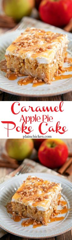 Caramel Apple Pie Poke Cake Recipe - apple cake soaked in caramel sauce topped with cool whip and toffee bits - AMAZING! Can make ahead of time and refrigerate. It gets better as it sits in the fridge (Apple Cake) Poke Cakes, Poke Cake Recipes, Dessert Recipes, Layer Cakes, Cupcake Recipes, Cookie Recipes, Fall Desserts, Just Desserts, Delicious Desserts