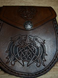 Handmade Brown Scottish Leather Sporran Bag w/celtic knot design - am I completely nuts for wanting to carry this as a purse?  Nevermind, I don't care.