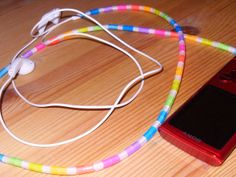 A nice idea to make your headphones or charger colourfull! Iron Beads, Cords, Charger, Headphones, Make It Yourself, Nice, How To Make, Ropes, Headpieces