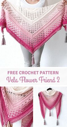 The Vela Flower Friend Shawl 2 is completely made with 1 of the 3 unique flower . - The Vela Flower Friend Shawl 2 is completely made with 1 of the 3 unique flower stitches that were - Crochet Shawl Free, Crochet Shawls And Wraps, Crochet Scarves, Knit Crochet, Crochet Vests, Crochet Cape, Crochet Edgings, Crochet Shirt, Knitted Shawls