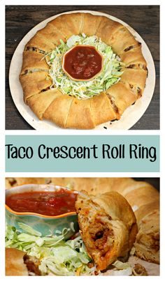 Need a quick dinner or appetizer? Try this taco crescent roll ring for an easy, simple dish!