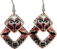 Northwest Native owl totem design is featured on these colorful copper handmade earrings that are silver plated and diamond cut to add extra sparkle. The Owl represents wisdom, helpfulness and have powers of prophecy. The Tlingit Indian warriors had great faith in the Owl and they would rush into battle hooting like Owls to give themselves confidence, and to strike fear into their enemies.