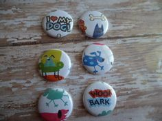 6 I LOVE My  DOG Buttons, Flairs, Pins
