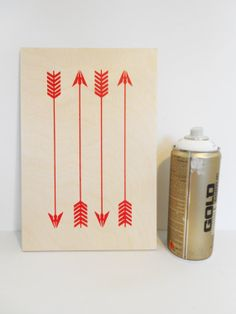 Painted Red Arrows on Plywood, Original Stencil Art on Plywood Block, Hand painted Artwork.