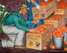 Maxine Albro was an Iowan who studied at the California School of Fine Arts. During the she studied in Paris and then in Mexico with Diego Rivera. Coit Tower San Francisco, Diego Rivera, Mural Painting, Public Art, Art And Architecture, Murals, 1920s, Street Art, Art Gallery