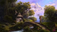 Fantasy cottage in the hills Fantasy Places, Fantasy World, Classic Fairy Tales, Medieval World, Fantasy Forest, Fantasy Setting, Environment Design, Fantasy Landscape, Environmental Art