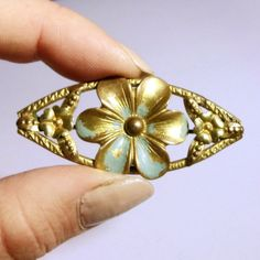 Vintage 1930s Bohemia Gold Flower Brooch Czech Eye Shaped Filigree Floral Gilt