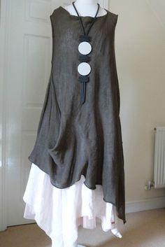 gorgeous ZUZA BART 100% linen quirky  tunic/ dress size  X LARGE CHOCOLATE #zuzabart #Tunic