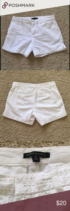"""🎀New Listing🎀 {Banana Republic} Eyelet Shorts {Banana Republic} Eyelet Shorts. Color: white. Size: 0. Inseam: 4.5"""". Waist: 15"""" Total length: 12"""". Worn once. In excellent condition. Banana Republic Shorts"""