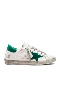 Image 1 of Golden Goose Leather Superstar Sneakers in White & Floc Green