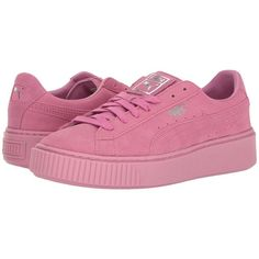 PUMA Puma Platform Reset (Prism Pink/Prism Pink) Womens Shoes ($100) ❤ liked on Polyvore featuring shoes, laced shoes, rubber platform shoes, breathable shoes, rubber footwear and pink creeper