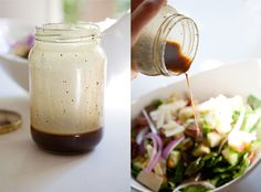 The dressing is just your standard balsamic vinaigrette: cup balsamic vinegar teaspoon of honey or pure maple syrup 1 tablespoon dijon mustard teaspoon pepper teaspoon salt cup olive oil Balsamic Vinaigrette Recipe, Balsamic Vinegar, Salad Recipes, Healthy Recipes, Drink Recipes, Healthy Food, Healthy Eating, Recipe Using Honey, Pure Maple Syrup