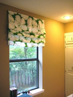 """Finished blind on kitchen window by meredithheard, via Flickr (""""cheater"""" Roman shades...right up my alley!)"""