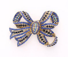 Blue Bow Knot Brooch Crystal Gold.