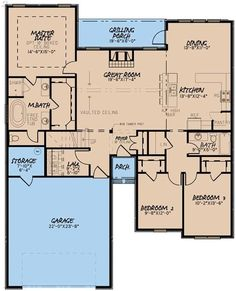 The amazing 1-story home's floor plan has 3 bedrooms and 2 bathrooms in 1775 square feet of heated and cooled living space that is maximized in every available square inch. #houseplan #bedrooms