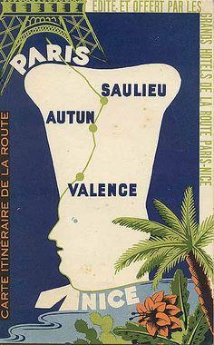 "Travel brochure ""Paris - Nice, Carte Iteneraire de la Route,"" circa 1937."