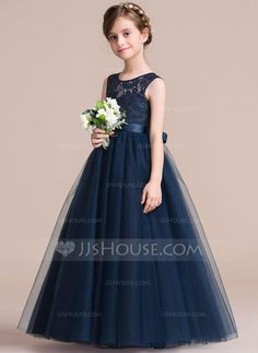 A-Line/Princess Scoop Neck Floor-length Sash Satin Tulle Lace Sleeveless Flower Girl Dress Flower Girl Dress