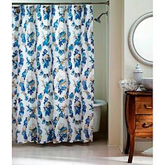 Kiki fabric shower curtain and hook set hibiscus your for Bathroom 94 percent
