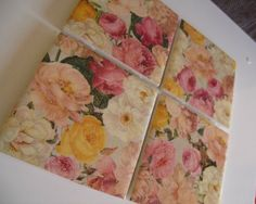 Shabby Chich FLORAL Sprakly Ceramic Table Coasters by crazydaisy12, $12.00