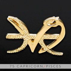 75 Capricorn and Pisces Gold Unity Pendant by UnityDesignConcepts