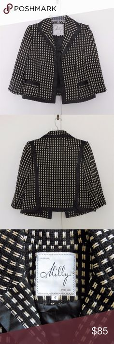 MILLY New York Metallic Thread Tweed Jacket Sz 4 Colors: black and gold. Excellent condition. Sold as shown. Photos don't do it justice, though! Milly of New York Jackets & Coats