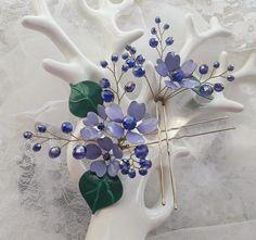 Lilac Hair Pin Purple Hair Pin Wedding Hair Pin Lilac Wedding Greenery Hair Pins Greenery Boho Wedding Violet Hair Pins Pansies Hair Pins