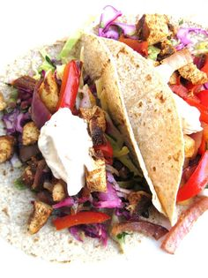 Spice-Rubbed Grilled Chicken Tacos with Cilantro Slaw and Chipotle Cream