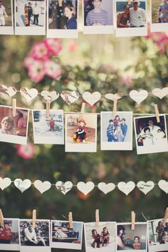 DIY hanging polaroid clothespin lines: http://www.stylemepretty.com/california-weddings/camarillo/2015/11/11/whimsical-socal-wedding-at-the-mccormick-ranch/ | Photography: Anne-Claire Brun - http://anneclairebrun.com/