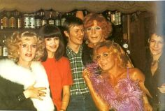 David Bowie with Coco Schwab, Clare Shenstone and friends at Lutzlower Lampe, Berlin 1977