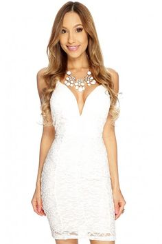 White Floral Lace V Shape Plunge Neck Sexy Clubwear Dress
