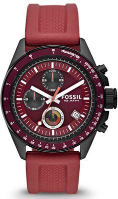 #Fossil #Watch Decker Chronograph Silicone Watch - Burgundy Ch2880