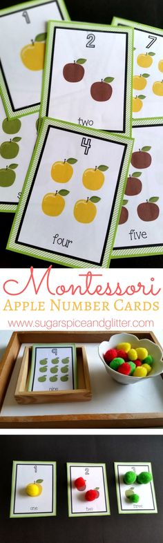 Free Apple Number Cards by Yuliya from Welcome to Mommyhood at Sugar Spice & Glitter