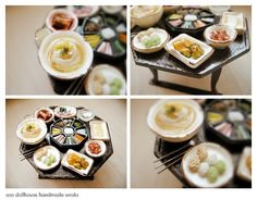 miniature korean food, a large dining table.by studio soo