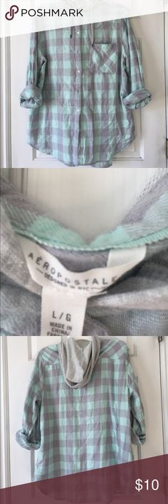 Hooded flannel Mint green and grey Aeropostale. Worn a couple times. Aeropostale Sweaters