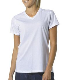 NW3232 A4 Ladies' Fusion Short-Sleeve V-Neck Tee White