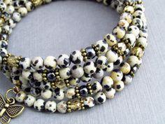 Далматин яшма браслет, провод памяти браслет, браслет Gemstone, браслет обруча, бабочки браслет, браслет яшма, модный стиль