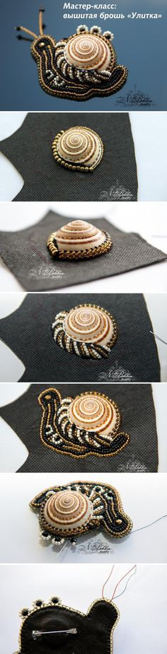 How to- beaded snail Bead Embroidery Tutorial, Bead Embroidery Jewelry, Beaded Embroidery, Beaded Jewelry, Handmade Jewelry, Beading Tutorials, Beading Patterns, Bead Crafts, Jewelry Crafts