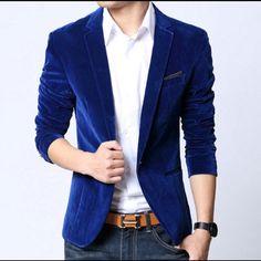 Mens Velvet Blazer Slim Fit Royal Blue Mens blazer slim fit suit jacket black navy blue velvet 2015 spring autumn outwear coat Free shipping Suits For Men Jackets & Coats Blazers