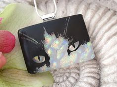 Cat Pendant   Dichroic Fused Glass Jewelry  Fused by ccvalenzo
