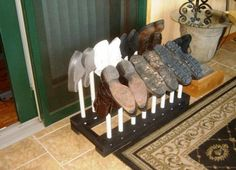 how to make pvc shoe storage | Free Boot Rack. I think this would work over the heat register as a boot dryer.