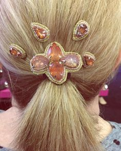 """Ponytails are a great solution for incorporating our @pinkpewter #beadedjewels"""