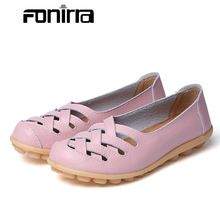 US $9.29 2017 Spring Autumn Genuine Leather Women Casual Flat Shoes Cutout Rounded Toe Slip On Ladies Footwear Shoes Plus Size 35-44 132. Aliexpress product