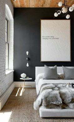 Image via We Heart It #appartement #art #bed #bedroom #black #blanket #carpet #chill #cozy #creative #decor #design #fabrics #furry #future #goals #grey #home #house #interior #interiordesign #life #modern #relax #relaxing #soft #white #swag #love #dream​
