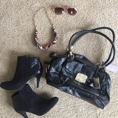 NWT Marc Fisher Black Leather Shoulder Bag Gorgeous brand new with tags black Marc Fisher shoulder bag. Gorgeous leather with gold accents and double zipper for 2 large desperate compartments. Fully lined interior with several organizational pockets! Marc Fisher Bags Shoulder Bags