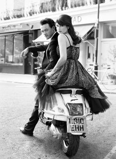 Luke Evans and Gemma Arterton (for the film Tamara Drewe), such a great shot! I need to get a vespa lol ; Luke Evans, Vespa Girl, Scooter Girl, Tamara Drewe, Couple Photography, Fashion Photography, Engagement Photography, Lambretta, Glamour Uk